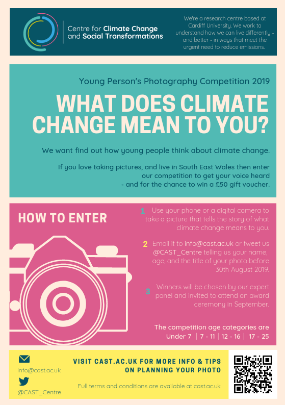 A flyer for the climate change photography competition featuring a graphic of a camera.
